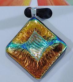 Golden fused glass pendant   476