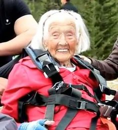 British centernarian, Peggy McAlpine, at 104 years old, is the world's oldest paraglider.