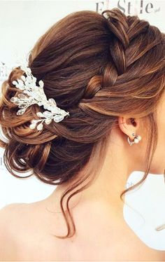 Bride hairstyles - braided updo for long hair