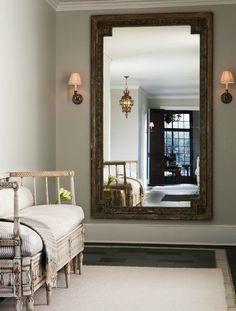 Sage Design - entrances/foyers - ticking stripe cushions, ticking striped cushions, french bench, foyer bench, foyer wall mirror, wall mirro...
