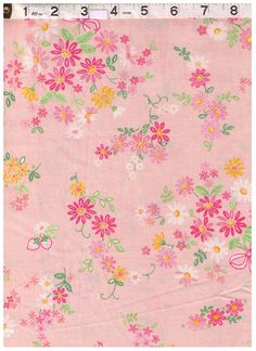 HALF YARD Yuwa - Mini Bows and Petite Flower Bunches - Pink White Yellow - Atsuko Matsuyama 30s collection - Perfect for tiny Zakka by fabricsupply on Etsy