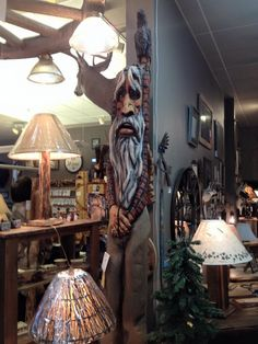 This unique old mountain man carving stands tall and lean, not saying a word but oh the stories he could tell if he did! Whether you stand him against the wall, on the porch or in the corner, his regal old frame will stand steady and firm as if to watch over your cabin or home! Come down and see this regal figure for yourself!