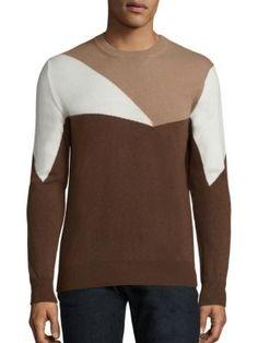 ELEVENTY Geometric Pure Cashmere Crewneck Sweater. #eleventy #cloth #sweater
