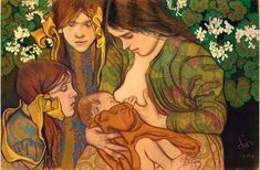 Stanislaw Wyspianski - Motherhood 5 inspiring Breastfeeding Images that normalise nursing - Lulastic and the Hippyshake Art Blog, Photo Art, Fine Art, Breastfeeding Art, Painting, Illustration Art, Historical Images, Fine Art Photo, Art History