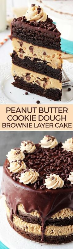 Butter Cookie Dough Brownie Layer Cake Peanut Butter Cookie Dough Brownie Layer Cake - layers of cookie dough, brownies and ganache!Peanut Butter Cookie Dough Brownie Layer Cake - layers of cookie dough, brownies and ganache! Mini Desserts, Just Desserts, Delicious Desserts, Dessert Recipes, Brownie Desserts, Plated Desserts, Cookie Dough Desserts, Brownie Ideas, Bar Recipes
