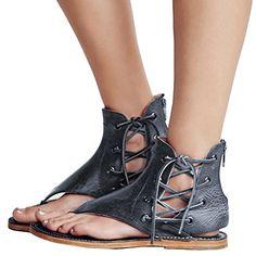 eef131f14954ec Women s Sandals Lace up Summer Flats Thong Flip Flop Sand... https