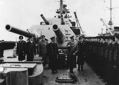 Adolf Hitler visiting the battleship Bismarck prior to Exercise Rhine, 5 May 1941.