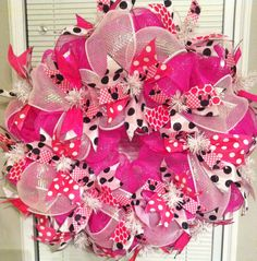 Minnie Mouse Pink Polka Dot Deco Mesh Wreath by CntryGrlWreaths,