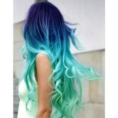 Pics For > Brown Hair With Teal Dip Dye