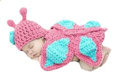 Halife New Born Baby Girl Clothes Romper Butterfly Design Knit Photo Prop Outfits One Size Butterfly Pink . Check website for more description.