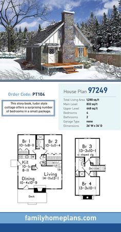 Cottage House Plan 97249 | Total Living Area: 1,280 SQ FT, 4 bedrooms and 2 bathrooms. This story book, tudor style cottage offers a surprising number of bedrooms in a small package. #tudorhome