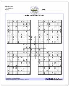 Given the popularity of sudoku puzzles and the rise in computer algorithms for generating and solving sudokus, it is no surprise that many variations have arisen beyond simple 9x9 grids. The Samurai Sudoku puzzles on this page are one variation where multiple 9x9 sudoku grids are joined together to form a beautiful larger puzzle.