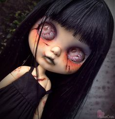 This custom Zombie Blythe doll is a commission & is reserved for E. Please do not purchase unless you are E.! Thank you.  ---------  Payment #2 out of 3. Total cost of doll is $480.00. $100.00 already received, balance is now at $380.00.  Commission work includes:  Face carving including jagged cuts, button nose and open mouth with teeth. Extensive face up work including bloody cuts, bruising, and veins. Extensive body modification on a pure Neemo s body, including deep cuts, bloodiness and…