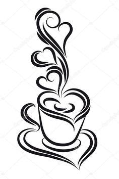 Downloaden - Zwart-wit koffie beker vector. Swirl, krul stijl — Stockillustratie #6375132