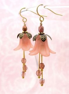 Romantic Salmon Pink Flower Blossom Earrings