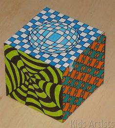 Kids Artists: Op art cube with directions Illusion Kunst, Illusion Art, Club D'art, Ciel Art, Op Art Lessons, Zantangle Art, Classe D'art, Art Cube, Middle School Art Projects