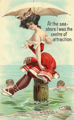 """At the sea-shore I was the center of attraction."" ~ ca. 1900s beach postcard."