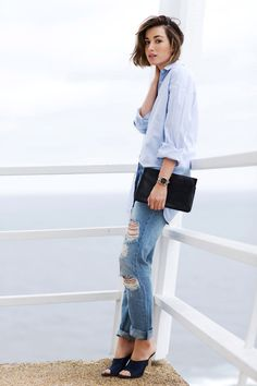 Blue boyfriend shirt and ripped denim on thechroniclesofher.blogspot.com #chroniclesofher #carmenhamilton