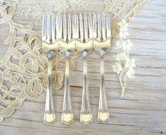 4 Vintage Silver Forks R C Co. Manchester Silver by SilverAndBone, $10.00