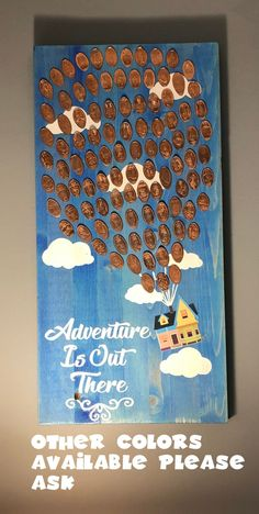 UP inspired Adventure Is Out There wooden pressed penny display 2 feet tall ! (PLEASE read description) Disney Rooms, Disney Up, Disney Theme, Disney Pins, Disney Cruise, Walt Disney, Wooden Wall Decor, Wooden Signs, Smashed Pennies