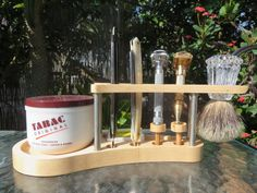 **Please Note: We have a completed walnut version of this item available for immediate shipment, the stand has a brush opening of ** Either Shaving Stand, Shaving Brush, Wet Shaving, Classic Shaving, Razor Stand, Beard Oil And Balm, Stainless Steel Rod, Close Shave, Tung Oil