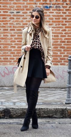 Loved the combination trench coat + skirt + knee high boots