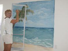 window ocean mural by V  Maine