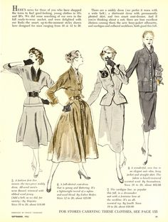 Elegant fall fashions form the pages of Women's Day magazine, September 1952. #vintage #1950s #fashion