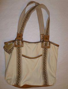 RELIC Canvas Shoulder Bag Purse Medium Thick Straps Cotton Tan Brown Ivory Heart #Relic #ShoulderBag