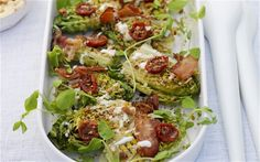 Grilled baby gem Caesar salad with anchovy pangrattato