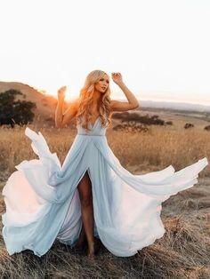 A-line Spaghetti Straps Chiffon Blue Prom Dress Evening Drsess SKA055