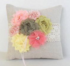 Ring pillow in pink, coral and green, with the look of a vintage ring pillow