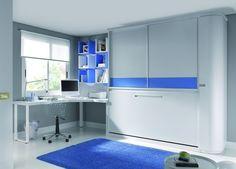 Dormitorio juvenil completo tono blanco y azul