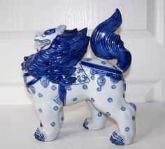 Vintage Blue Painted Chimera Foo Dog Lion Porcelain by SanMonet Stone Lion, Fu Dog, Lion Dog, Lattice Design, Chimera, Oriental Design, Lhasa Apso, Chinoiserie, Asian Art