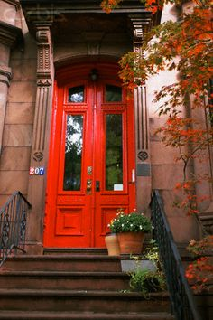 Red Doors on New York City Brownstone