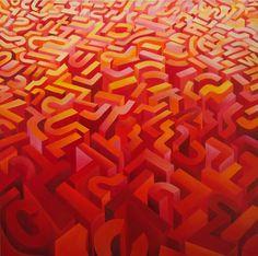 Mundo rojo 2008 oleo s tela 100 x 100
