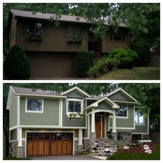 1970's split level goes craftsman, nice reno idea for some major curb appeal: