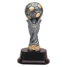 This soccer award replicates the world cup! A painted victory figure holds a pewter colored soccer ball with gold accents. Pewter Color, Gold Highlights, Soccer World, Custom Engraving, Sports Equipment, Soccer Ball, Gold Accents, World Cup, Corporate Awards