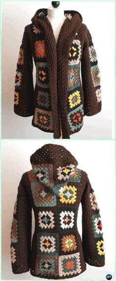 Transcendent Crochet a Solid Granny Square Ideas. Inconceivable Crochet a Solid Granny Square Ideas. Crochet Coat, Crochet Cardigan Pattern, Crochet Clothes, Point Granny Au Crochet, Granny Square Crochet Pattern, Free Crochet Jacket Patterns, Granny Square Sweater, Pull Crochet, Garter Stitch