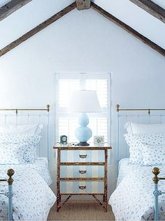 Twin Beds - Best of Summer; love the night stand!!