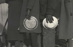 """by Walker Evans """"Negroes in the line-up for food at mealtime in the camp for flood refugees, Forrest City, Arkansas. February, 1937."""""""