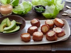 Bacon Wrapped Scallops with Spicy Mayo Recipe : Tyler Florence : Recipes : Food Network Seafood Recipes, Appetizer Recipes, Fish Recipes, Yummy Recipes, Recipies, Yummy Food, Drink Recipes, Paleo Recipes, Tasty