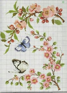 ru / Photos n ° 17 - 2 - Auroraten Butterfly Stitches, Butterfly Cross Stitch, Beaded Cross Stitch, Cross Stitch Borders, Cross Stitch Flowers, Counted Cross Stitch Patterns, Cross Stitch Charts, Cross Stitch Bird, Cross Stitch Designs
