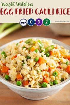 This Egg Fried Cauliflower Rice is zero SmartPoints on Weight Watchers Freestyle plan and on myWW Blue  Purple plans. It is 2 SmartPoints per portion on myWW Green plan. #zerosmartpoints #wwgreen #wwblue #wwpurple #weightwatchersrecipeswithpoints #califlowerrice