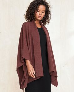 Add warmth and style to any look with our Recycled-Cashmere Travel Ruana. It has fuss-free tacked sleeves, and the draped collar and tunic length offer a cozy embrace — whether on a plane, at your desk, or snuggled in with a good book. Yarn Twist, Sale Of The Day, Cashmere Sweaters, Garnet, Recycling, Kimono Top, Style Inspiration, My Style, Womens Fashion