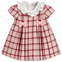 Pink and red check dress by Dr Kid made in a lightweight polycotton with a beautifully smocked collart, two pink velvet bow and hidden back zipper. Baby Girl Dress Patterns, Dresses Kids Girl, Little Girl Outfits, Baby Dress, Kids Outfits, Pink Dress, Red Checkered Dress, Designer Dresses For Kids, Kids Fashion