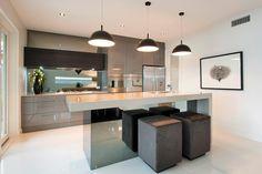 bronze smoke mirror splashback - kitchen - industrial pendants - charcoal - kitchen stools