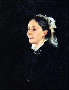 """Mrs. Daniel Sargent Curtis"" (1882), by Italian-born American artist - John Singer Sargent (1856-1925), Oil on canvas, 71.1 x 53.3 cm, Spencer Museum of Art, Kansas, USA."