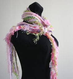 Knotted Fringe Scarf Combination of Greens Pinks by FashionTouch No Sew Scarf, Fringe Scarf, Spring Day, Photo Props, All Things, Lavender, Winter Hats, Knitting, Ribbons