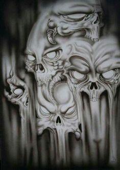 """""""Kafir"""" by ItComesInThrees @ deviantart ☠️ Evil Skull Tattoo, Evil Tattoos, Demon Tattoo, Badass Tattoos, Skull Tattoos, Body Art Tattoos, Sleeve Tattoos, Retro Tattoos, Skull Stencil"""